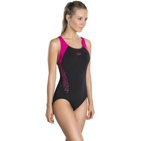 speedo Boom Splice Racerback Swimsuit Women black/electric pink